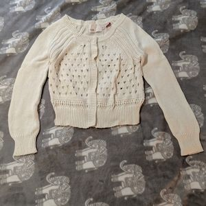 Anthropologie cream cropped sweater